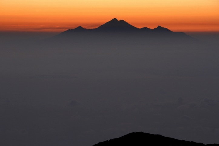 Sunset behind Mt Rinjani on Lombok island