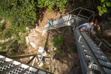 A set of metal stairs on the West Head Army Track