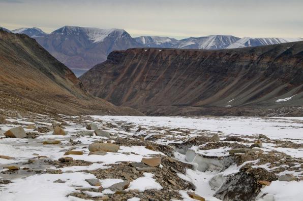 Foot of Lars glacier, looking back towards Longyearben