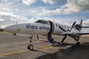 Sharp Airplane on the runway at Whitemark