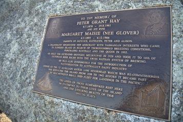 A plaque on Mt Killiecrankie commemorating an early European landholder