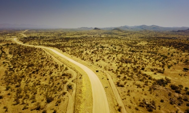 Aerial view of the D512 road to N/a'an ku sê (Naankuse) Lodge