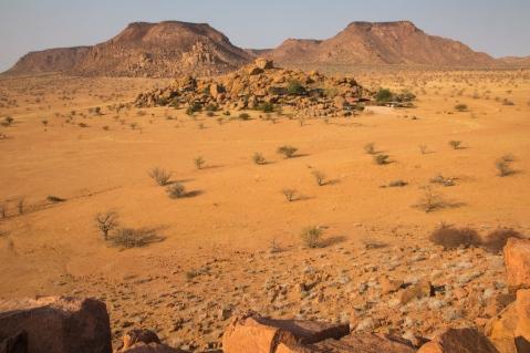 Camp Kipwe, almost invisible in the granite outcrop