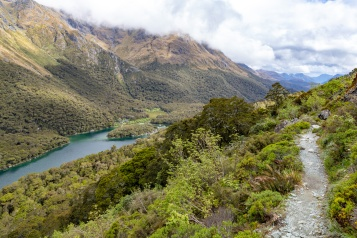 Looking back down the Routeburn Track to Lake MacKenzie