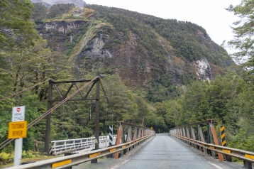 Road brudge next to Tutoko Suspension Bridge